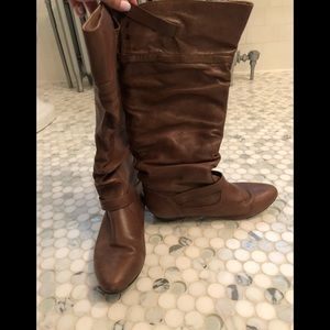 Brown leather tall boots